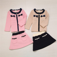 Wholesale New Arrivals Clothing sets pieces Coat Skirt Children Casual Spring Autumn Outfits Girls cotton Clothing with Lovely Bowknot