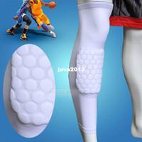 Cheap Wholesale-407-Wholesale-407-S White Child Kids Sport Honeycomb Pad Anti-Shock Basketball Football Leg Knee Long Sleeve