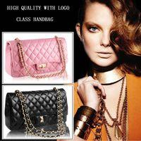 Wholesale Hot Quilted rectangular metal chain shoulder bag sheep skin famous brand pattern bag plaid bag women handbags price