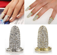 Wholesale Punk Full Pave Crystal Rhinestone Silver Gold P Nail Claw Finger Tip Art Ring JR18010