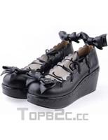 Wholesale Cute Black Round Toe Bow Flannel Cross Lolita Shoes