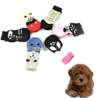 Wholesale sets Indoor Pet Dog Puppy Sock Soft Cotton Anti slip Knit Warm Socks Skid Bottom Pets Products DropShipping