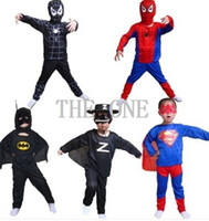 Cheap superman batman spiderman suit boys performance clothing halloween costumes spiderman suit spider polyester suit boy 3pcs clothing set