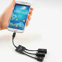 Cheap Micro USB Male to 2 USB Female & 1 Micro USB Female OTG Hub Adapter Cable for Samsung Galaxy S3 S4 S5 Note 2 3 Smartphone Tablet