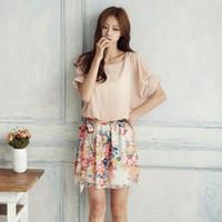 Cheap Floral Women Chiffon Dress Short Sleeve Mini Dress One-Piece Chic Tailored Suit Free Drop shipping