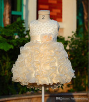 Wholesale Light Gold Pageant Party Applique Girls dresses Ball Bown Pearl Flower Girl Dresses