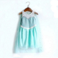 Wholesale huge stocks Frozen Princess Anna Elsa Sofia sleeveless Children Baby Girl Party sequins Tutu lace Dresses smock LY PT
