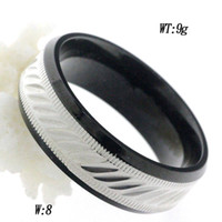 Wholesale Ring jewelry IP balck color stainless steel material for men with diamond pattern technology price low minimum order quanlity