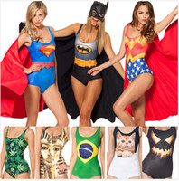 Wholesale New One Piece Swimwear Fahion Print Superman Wonder Women Batman Cat Swimsuit Bathing Suit Digital Cover Up Women BeachSuit
