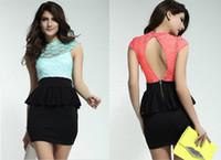Wholesale 2014 Newest Fashionable Dress Celestial Coral Green Floral Lace Black Peplum Dress O Neck Mini Dress B4454