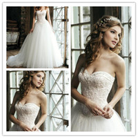 Wholesale Sincerity Beaded Sweetheart Tulle and Lace Wedding Dresses A Line Court Train Elegant Backless Corset Bridal Gowns D519