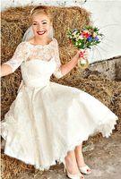 Wholesale White Ivory Sleeve Short Wedding Dress Jewel Lace Vintage Tea Length Bridal Gown Custom Size
