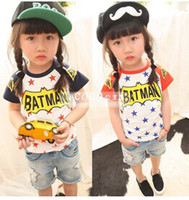 Wholesale children clothes summer new Boys and girls pentagram letter raglan sleeved T shirt foreign trade dandys