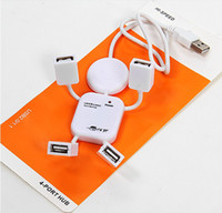 Wholesale 4 Ports USB HUB High Speed Doll shape splitter usb hub For Laptop Pc Samsung for iPhone S S With Retail Package