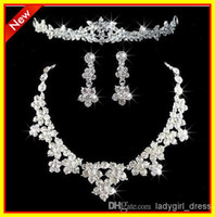 Cheap Wholesale - 2013 Free Shipping Fashion In Stock Rhinestone Crystal Jewelry Necklace Earrings Sets Wedding Bridal Dresses Dress Gown