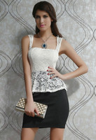 Cheap 2014 New Arrival Sexy White Lace Top Black Peplum Women Casual Dress Summer Clothing Set Square Neckline B4456
