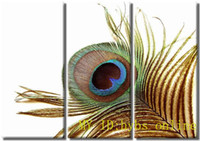 """Cheap 100% Handicrafts 3 panel Combination Modern Abstract Art Oil Painting Wall Deco canvas:""""Peacock feathers"""" -gy0419"""