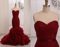 Wholesale Design Fashion Dark Red Sweetheart Neckline Mermaid Wedding Dresses With Silk Sash Cascading Ruffle Train Exquisite Bridal Gowns No Sleeve