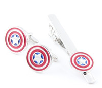 Wholesale Marvel Captain America Cufflink For Shirt French Cufflinks Fathers Day Gifts For Men Jewelry Superhero Cuff Links Tie Clip Set C46