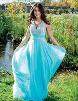 Cheap 2014 Elegant A Line Aqua Halter Chiffon Long Prom Dresses Beaded Bodice Floor Length Evening Dress