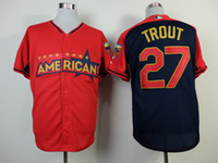 Wholesale 2014 All Star Game American United Jerseys LA Angels Mike Trout Authentic Baseball Jerseys Mens Cool Base Baseball Shirt Outdoor Apparel