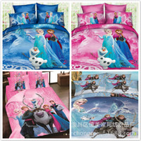 Cheap EMS free shipping 3D cartoon kids bedding sets frozen Elsa & Anna Olaf 4pcs bed set quilt cover duvet cover quilt bedspread 100% cotton