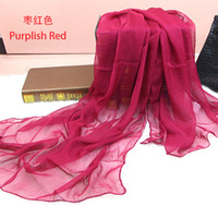 silk scarf solid color - Spring summer new solid pure color georgette Mulberry silk scarf women Beach towels shawls scarves colors
