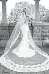 Wholesale 2015 New Best Selling Long Veil One Layer Tulle Wedding Veils Appliques Lace Bridal Veils Three Meters White Ivory Veils for Wed