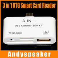 Wholesale OTG USB Card Reader Connection Kit to Your Smart Phone Pad TF SD MMC IN White with Retail Package