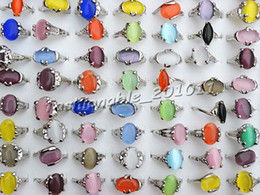 Wholesale Mixed assorted Colourful Natural Cat Eye Gemstone Stone Silver Tone Women s Rings R0135 New Jewelry