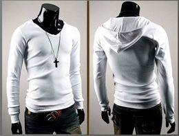 Wholesale Mens Cheap Best T Shirt Long Sleeve Hoodies Cotton Personalized British style men s hooded long sleeved T shirt Slim Spring Autum wear