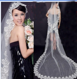 Wholesale 2014 Hot Sale Gorgeous Meters Tulle Appliques White Ivory Bridal Veil Handmade