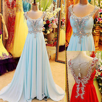 Sweep Train chiffon pageant gowns - 2015 Sale New Blue Red Pageant Dresses Gowns With Beads Beading Sash Ribbon Backless And Pleats Sleeveless Chiffon Prom Dress Gown Cheap L_Z