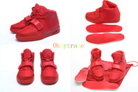 Wholesale Top Quality Famous Trainers Yeezys II October Red Women s Sports Basketball Shoes Sneakers Shoe Size