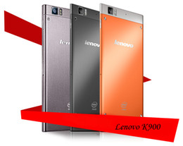 Wholesale 100 Original Lenovo K900 Cellphone Factory Sealed GB RAM GB ROM Intel Atom Z2580 Dual Core GHZ with FHD Screen Cellphone