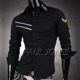 Wholesale PJ New Men s Fashion Designer Stylish Slim Fit Military Dress Shirts Casual Tops Size S XL CL4292