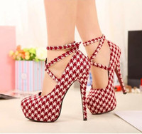 stiletto - Hot sale New Red White Plaid Strappy Heels Pumps Sexy Wedding Club Party Platform High Stiletto Heels Shoes
