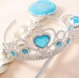 Wholesale 2014 New Arrival frozen Anna elsa crown hair accessory Party Hair Accessories Queen Girls Crowns magic wigs in one set QG1