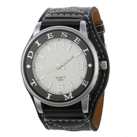 Cheap 9204 Round Dial Wide PU Leather Strap Analog Watch