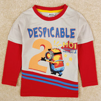 Wholesale Despicable Me minion cartoon t shirt boy tee shirt kids boy clothes autumn winter cotton fabric long sleeve apricot top A5118Y