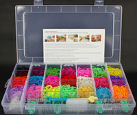 Wholesale 3200pcs rubber band of S clip hook of nice pendant loom Rainbow Loom Kit DIY Wrist Bands Bracelet clear plastic box