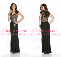 Wholesale 2014 Elegant Cap Sleeves Sheath Hot Mother Of The Bride Dresses Lace Chiffon Beach Lace Formal Evening Gowns Prom Dress