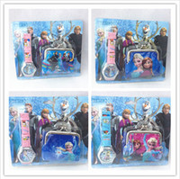 Wholesale Newest Frozen Watch Sets Anna Elsa Wallet in Purse Kids Fashion Quartz Cartoon Candy Cute Lovely Boy Girl Children Watch