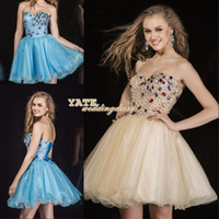 Cheap Beautiful Strapless A-line Organza Sequin Crystal Corset Mini Homecoming Dresses 2014 Short Prom Gowns