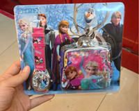 Wholesale 2014 Newest Frozen Watch Sets Anna Elsa Wallet in Purse Kids Fashion Quartz Cartoon Candy Cute Lovely Boy Girl Children Watch