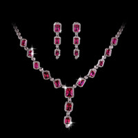 Wholesale High end fashion star models square diamond ruby necklace and earrings set zircon pendant earrings rhodium jewelry