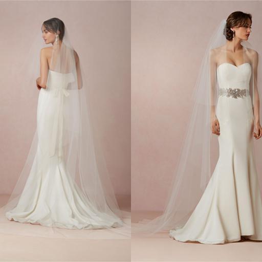 Ivory Cathedral Length Bridal Veils Soft Nylon Tulle