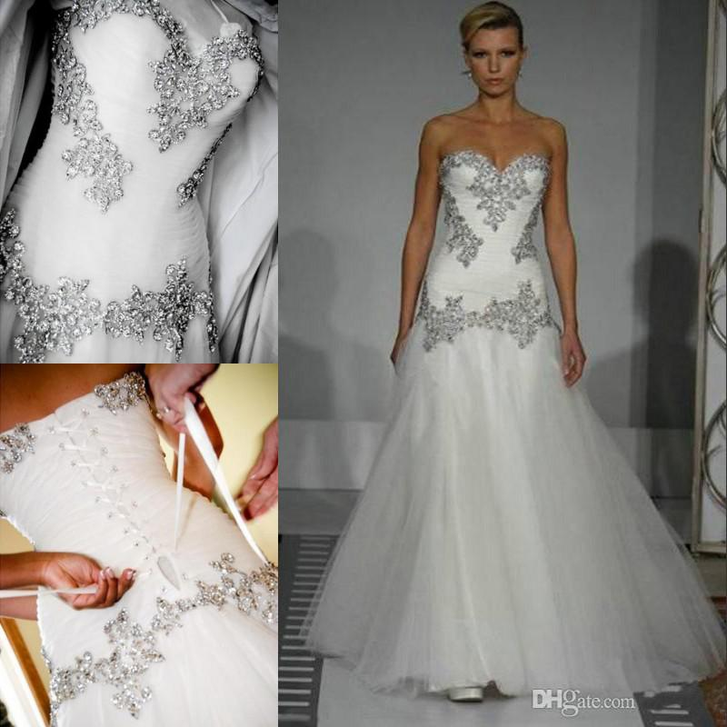 Custom Made Pnina Tornai A-line Wedding Dresses with Blink Sequins ...