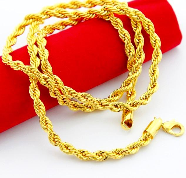 2017 24k gold plated necklace fashion jewelry women men necklace twisted singapore chain. Black Bedroom Furniture Sets. Home Design Ideas