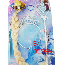 Wholesale 20 OFF High Quality Frozen Elsa Anna Queen Crown Princess Long Hair Wig Crown Magic Wand Wig Cap Hairpin Imperial Crown Jewelry Sets